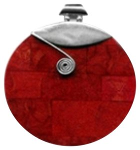 Island Silversmith Island Silversmith Huge 60mm Red Coral 925 Sterling Silver Pendant 0501V *FREE SHIPPING