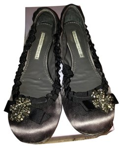 Vera Wang Rhinestone Broach Charcoal grey Flats
