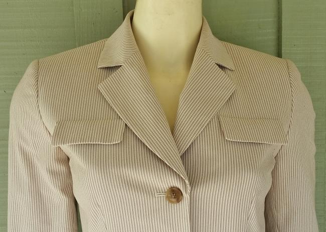 Antonio Melani Striped Lined Jacket Beige Blazer