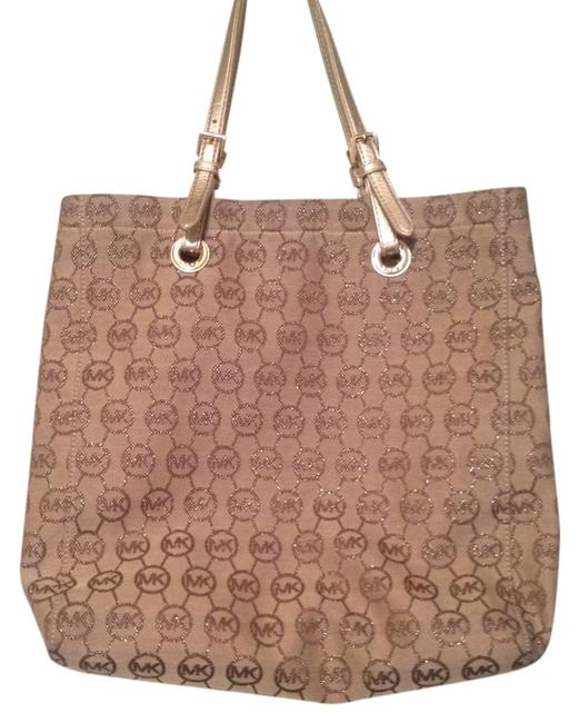 Item - Signature Tan and Gold Canvas Tote