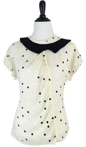 Marc by Marc Jacobs Polka Dot Short Sleeves Ruching Top Cream