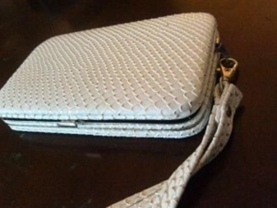 Other android phone case white faux snakeskin wallet purse wristlet new metallic