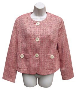 J. Jill Cotton Blazer Summer Work Red Tweed Jacket