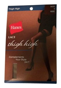Hanes Two Hanes Lace Thigh High Stockings Nude Size Small (Set of 2)