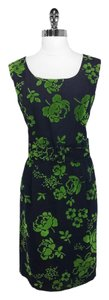 Anni Kuan short dress Navy/Green Floral Polyester Wool on Tradesy