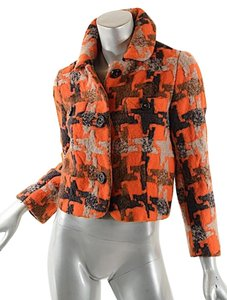 Marc by Marc Jacobs Houndstooth Crop Orange Red Brown Multi Color Jacket