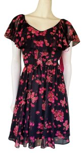 Betsey Johnson short dress Black Floral Chiffon Butterfly on Tradesy