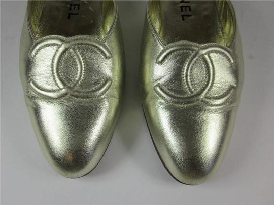 Chanel 36.5 6.5 Leather Logo Gold Flats
