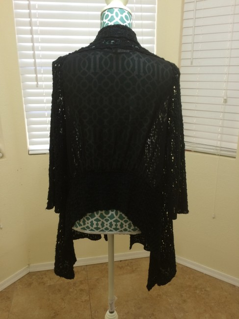 BCBGMAXAZRIA Max Azria Knit Chiffon Sheer Sexy Lace Open Front Maxi Vest Jacket Shawl Modern Edgy Boho Bohemian Chic Indie Punk Sweater
