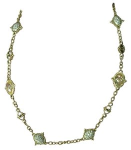 Judith Ripka Arielle Necklace, Lg Pave Diamonds (4 stations) & Canary Crystals