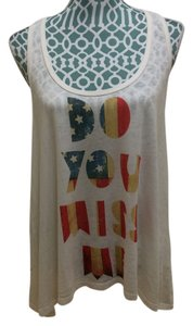 Miss Me Shirt Blouse T-shirt Girls Juniors Racer Back Assymetrical Cotton Flag Print Cute Pretty Adorable Sexy Slouchy Maxi Top Ivory, Multi Color