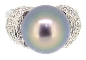 18K White Gold Tahitian Black Pearl 0.70Ct Diamond Ring Size 6.5