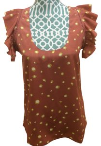 MM Couture Mm Miss Me Cute Shirt Tank Ruffled Dotted Polka Dot Brown Pink Magenta Maroon Chiffon Girls Ladies Women Misses Style Top Brick