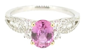 18K White Gold 1.40Ct Pink Sapphire 0.57Ct Diamond Ring 3.5 Grams Size 6.5