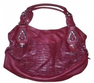Other Rare Leather Scalloped And Detailed Purse Silver Details And Side Gathered Details. Zippered Pockets A Very Big And Satchel in dark red