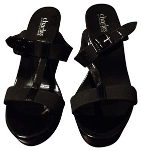 Charles David Sandal Black Wedges