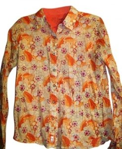 Wrangler Yellow/Orange Floral Print. Long Sleeve Snaps Down Front Shirt. Very Cute Top
