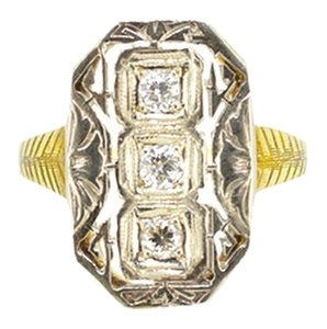 Other Antique 14K Two Tone Gold 0.20Ct Diamond Ring 3.3 Grams Size 6.25