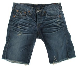 True Religion Riley Denim Distressed Cut Off Shorts Blue