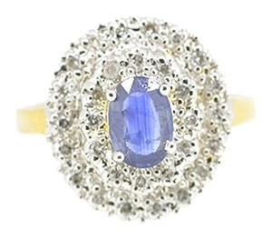 14K Two Tone 0.5Ct Sapphire 0.25Ct Diamond Ring 3.7 Grams Size 5