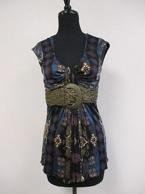 Item - Multi Color Sleeveless Pleated Abstract Print Blouse W Waist Belt Y884