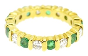 18K Yellow Gold 0.63Ct Emerald 0.72Ct Diamond Eternity Band Ring