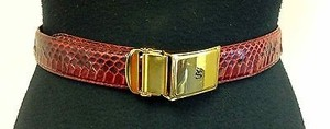 Stacy Adams Stacy Adams Dark Red Snakeskin Leather Gold Hardware Accent Belt B2258