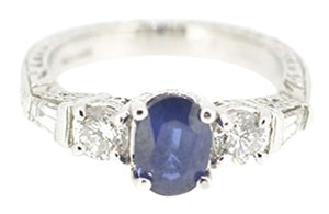 Other 14K White Gold 0.93Ct Sapphire 0.65Ct Round Baguette Diamond Size 5