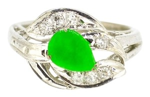 Antique 14K White Gold Jade Diamond Ring 3.0 Grams Size 4 3/4