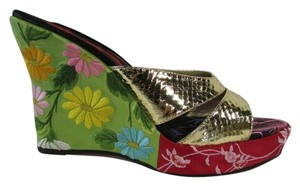 Beverly Feldman Bora Bora Sandals Mixed Print Leather Multicolored Wedges