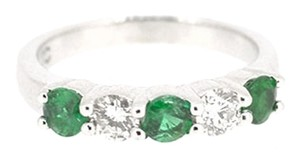 Other 14K White Gold 0.60Ct Emerald 0.40Ct Diamond Ring 3.4 Grams Size 5 1/4