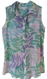 Liz Claiborne Spring Floral Sleeveless Sheer Button Down Shirt