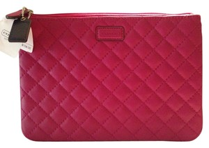 Coach Coach Bright Magenta Medium Leather Quilted Tech Pouch