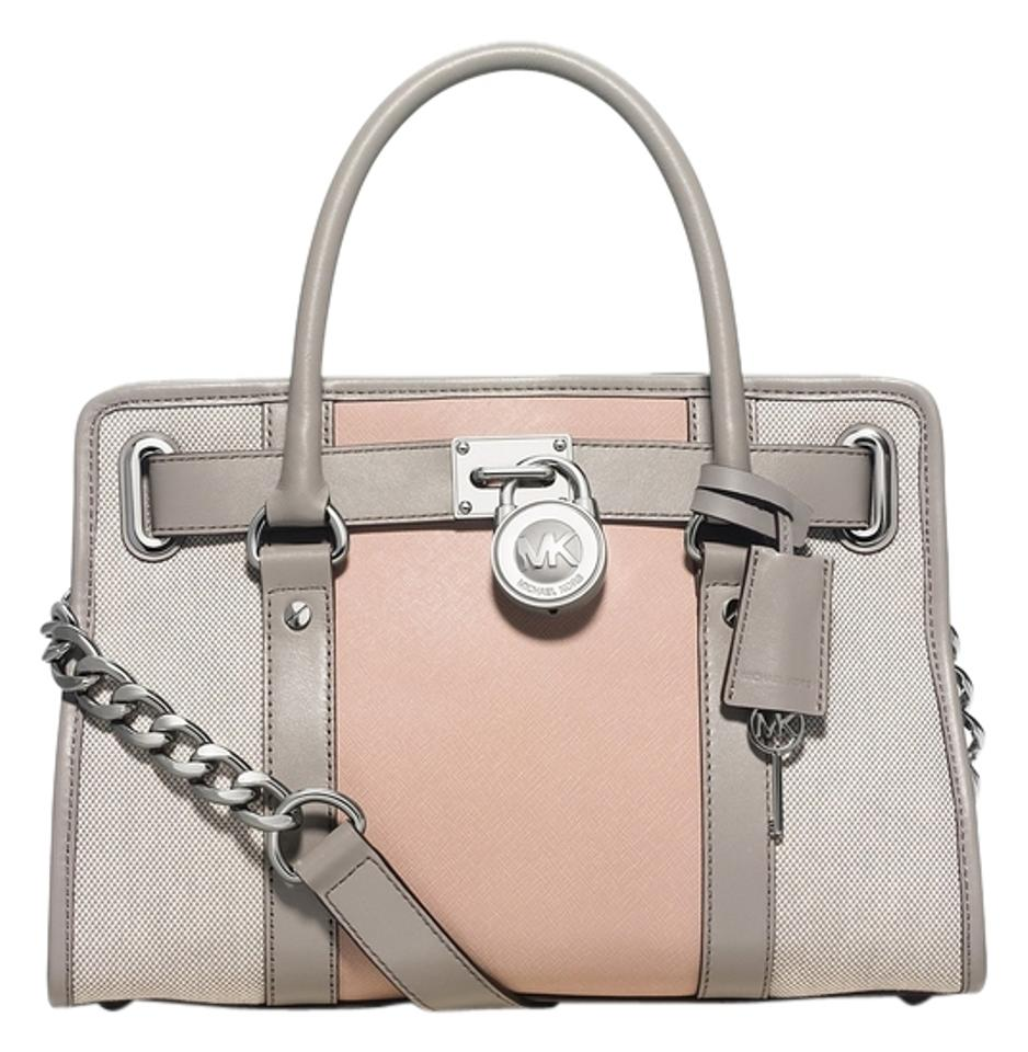 Michael Kors East West Hamilton Center Stripe In Pearl Grey Ballet Saffiano Leather & Canvas Satchel 25% off retail
