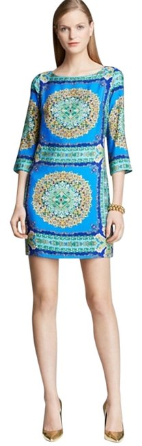 Laundry by Shelli Segal short dress Vibrant Blue Multi Chic Scarf Print Boat Neck on Tradesy