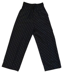 J. R. Bentley Bohemian Polka Dot Comfy Boho Wide Leg Pants Black