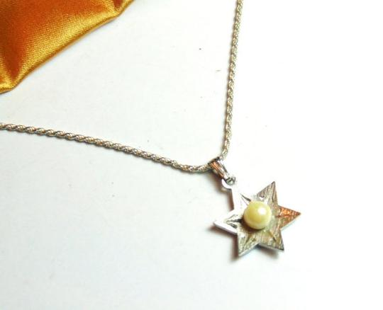 Theda Vintage Sterling Silver & Pearl Theda Star of David Charm Pendant with Necklace