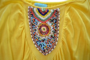 Unknown Summer Beaded Top Yellow
