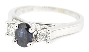 Other 14K White Gold 0.70Ct Sapphire 0.20Ct Round Diamond Ring Size 8 1/4