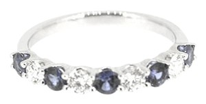 18K White Gold 0.61Ct Sapphire 0.41Ct Diamond Band Ring Size 6.5