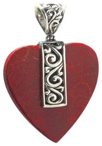 Island Silversmith Island Silversmith Stunning Red Coral 925 Sterling Silver Heart Love Pendant 0501R *FREE SHIPPING*