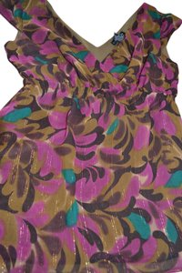 New York & Company Sleeveless Gold Shimmer Chiffon Top Multi Color