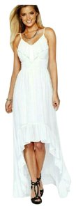 White Maxi Dress by Guess Chiffon Hi Lo Ruffles Sexy Flirty