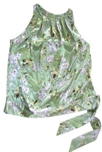 Apartment 9 Satin Green Tie Sleeveless Top Multi Color
