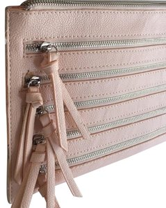 Barami Zippers Zipper Detail Oversized Faux Leather Chain Pink Clutch