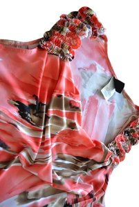 Wrapper Sleeveless Print Ruffle Orange Top Multi Color