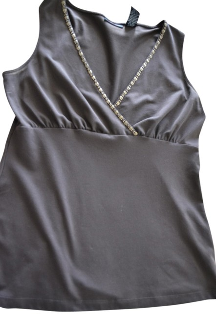 New York & Company Sleeveless Detail Metallic Wrap Top brown