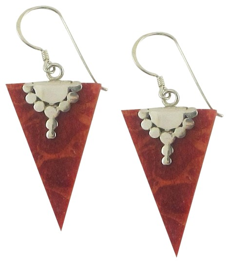 Island Silversmith Island Silversmith 925 Sterling Silver Red Coral Arrowhead Earrings 0501Y *FREE SHIPPING*