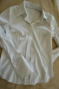 New York & Company Longsleeve Pinstripe Metallic French Cuff Button Gold Classic Button Down Shirt White