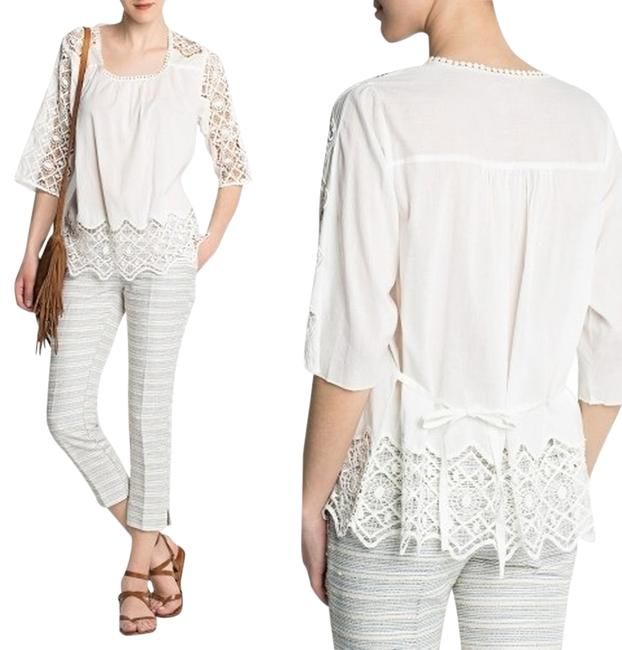 Mango Crochet Top White